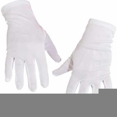 Goochelaar handschoen kort wit trend