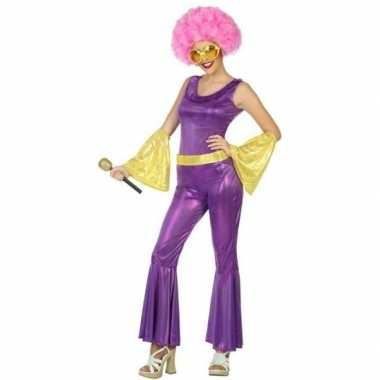 Goud/paars disco verkleed pak/kostuum voor dames