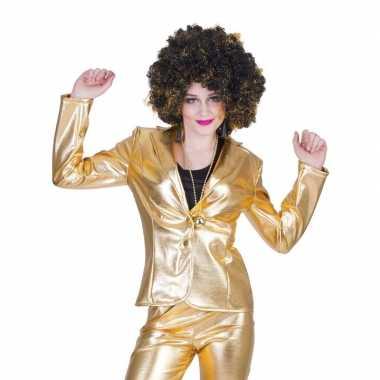 Gouden disco seventies verkleed colbert/jasje voor dames