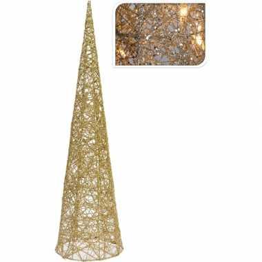 Gouden kerstverlichting kegel piramide 60 cm