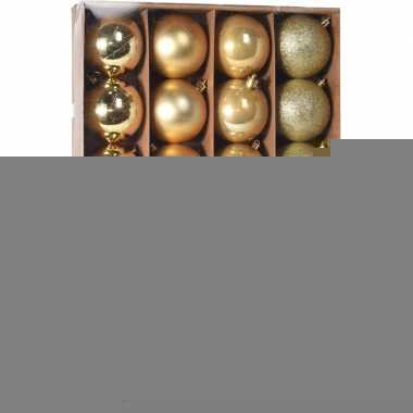Gouden kerstversiering kerstballenset kunststof 6 cm