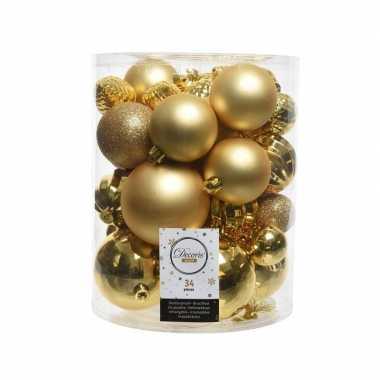 Gouden kerstversiering kunststof kerstballenset 34 stuks