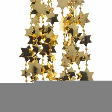 Gouden kerstversiering ster kralenslinger 270 cm