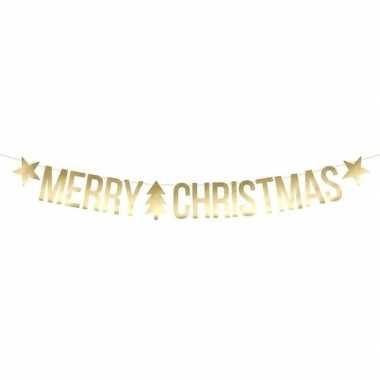 Gouden merry christmas diy kerst banner slinger 20 x 175 cm