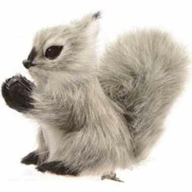 Grijze eekhoorn kerstversiering clip decoratie 8 cm