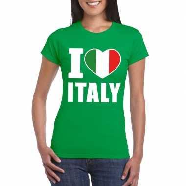 Groen i love italie fan shirt dames