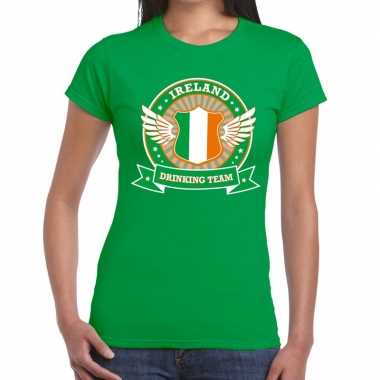 Groen ireland drinking team t-shirt dames