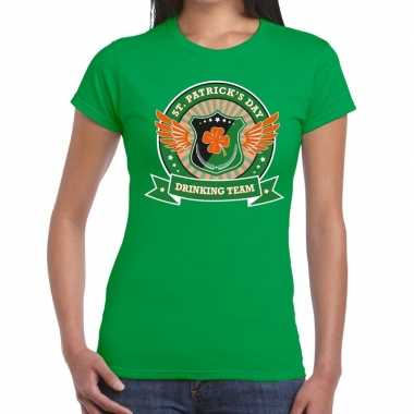Groen st. patricks day drinking team t-shirt dames