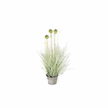 Groene allium/sierui grasplant kunstplant 53 cm in grijze zinken