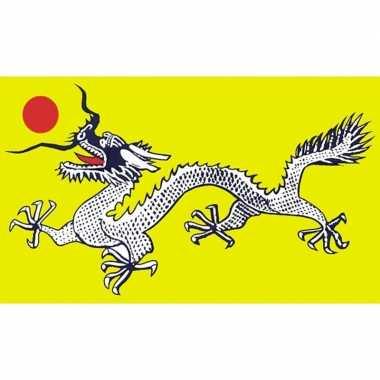 Groene chinese draken vlag 90 x 150 cm