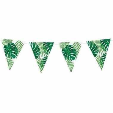 Groene diy jungle/hawaii thema feest vlaggenlijn 1,5 meter