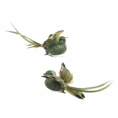 Groene kerstboom versiering vogel op clip 13 cm