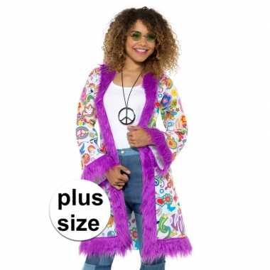 Grote maat hippie groovy jas voor dames