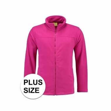 Grote maat microfleece vest fuchsia voor dames trend