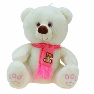 Grote pluche knuffelbeer wolly creme-roze 100 cm