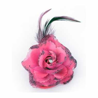 Haar accessoire glitter bloem roze