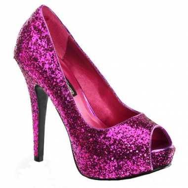 Hakken in de kleur roze met open teen