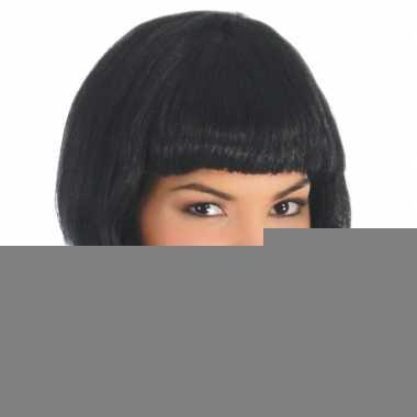 Halflange zwarte damespruik