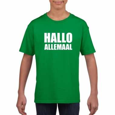Hallo allemaal tekst groen t-shirt voor kinderen