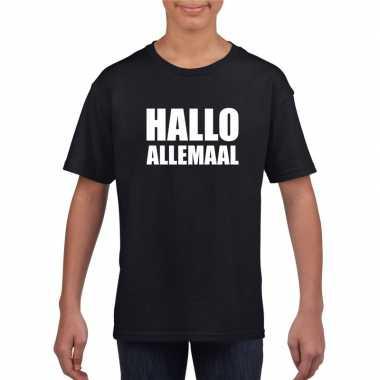 Hallo allemaal tekst zwart t-shirt voor kinderen