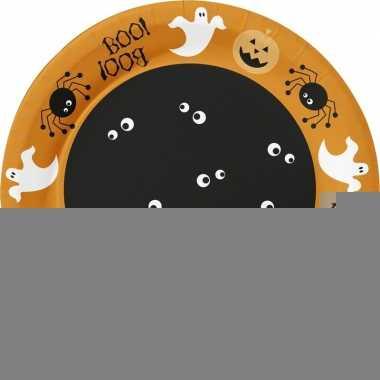 Halloween - 10x oranje halloween borden met print 22 cm