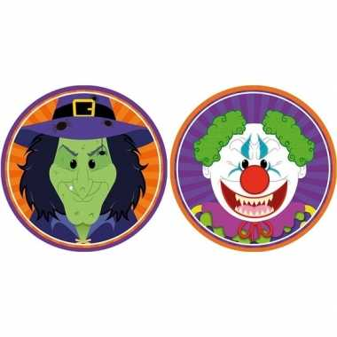 Halloween - 20x halloween onderzetters heks en horror clown