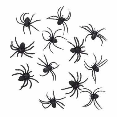 Halloween - 24 zwarte decoratie spinnetjes 8 cm