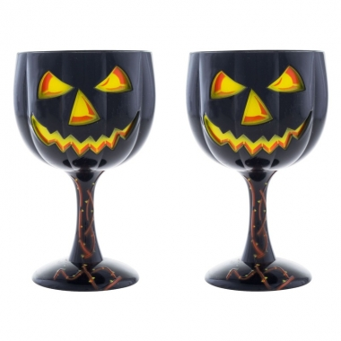 Halloween - 2x halloween wijnglas/kelk pompoen 18 cm