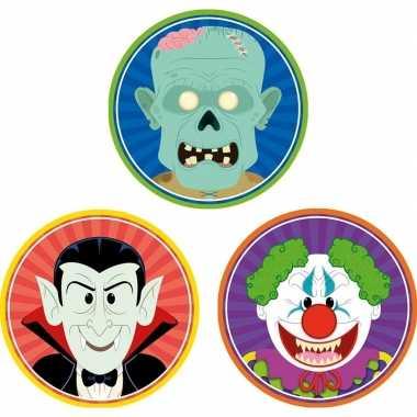 Halloween - 30x halloween onderzetters vampier/horror clown/zombie
