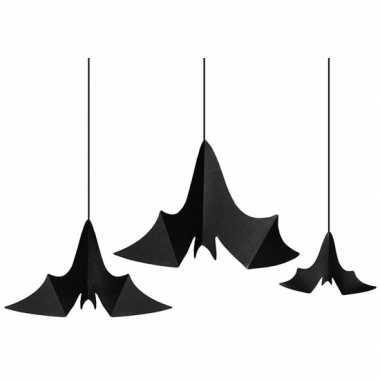 Halloween - 3x zwarte vleermuizen hangdecoraties van papier