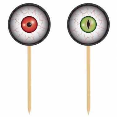 Halloween - 40x horror halloween cocktailprikkers met oogbollen