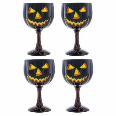 Halloween - 4x halloween wijnglas/kelk pompoen 18 cm