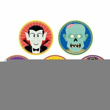 Halloween - 50x halloween onderzetters clown/duivel/heks/vampier/zomb