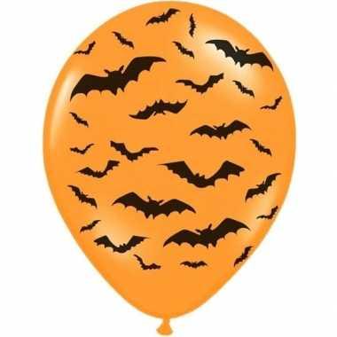 Halloween - 6x oranje/zwarte halloween ballonnen 30 cm met vleermuize