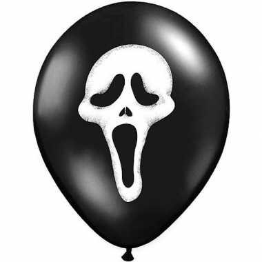 Halloween - 6x zwarte ballonnen scream doodshoofd halloween 30 cm