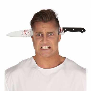 Halloween - bebloed mes door het hoofd diadeem
