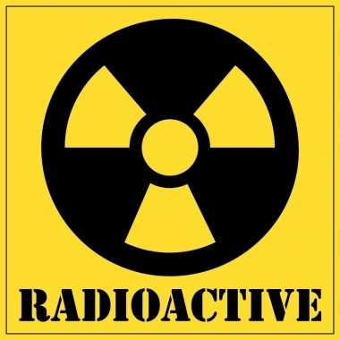Halloween decoratie radioactief / radioactive sticker 10,5 cm
