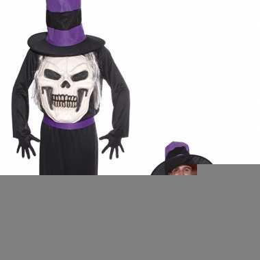 Halloween - doodskop halloween met hoed kostuum voor heren