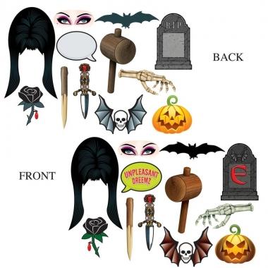 Halloween - foto prop set halloween dubbelzijdig 12 delig