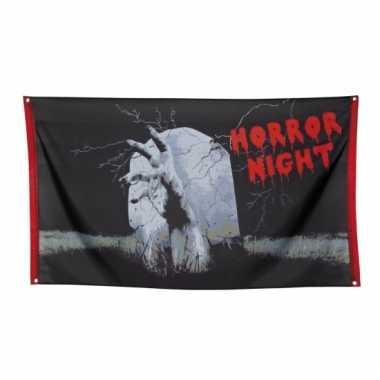 Halloween gevelvlag horror night 150 cm