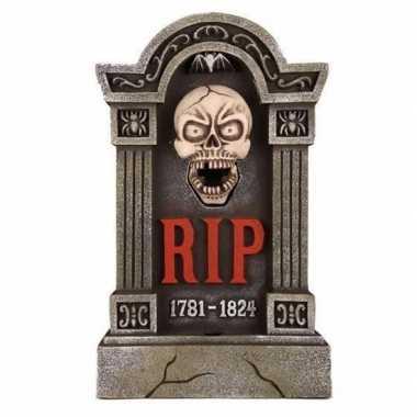 Halloween - grafsteen rip met led ogen en bewegende kaak 60 cm