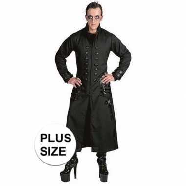 Halloween - grote maten zwarte gothic/vampier jas verkleedkleding voo