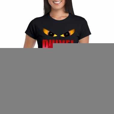 Halloween - halloween duivel ogen t-shirt zwart dames