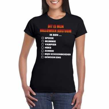 Halloween - halloween kostuum lijstje t-shirt zwart dames