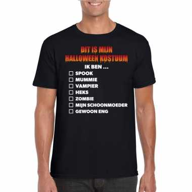 Halloween - halloween kostuum lijstje t-shirt zwart heren