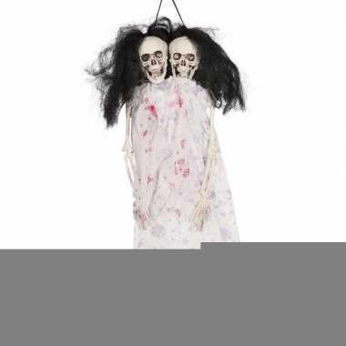 Halloween - hangdecoratie skelet pop met 2 koppen 40 cm