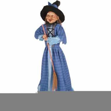Halloween - heks decoratie pop blauw 70 cm halloween versiering