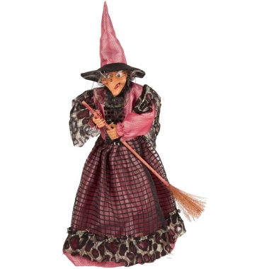 Halloween - heks decoratie pop fuchsia/zwart 40 cm halloween versieri