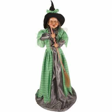 Halloween - heks decoratie pop groen 70 cm halloween versiering