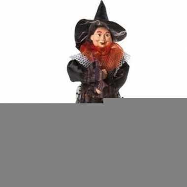 Halloween - heks decoratie pop oranje/zwart 25 cm halloween versierin